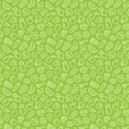 Vegetables and fruits seamless pattern background illustration outline icons on green Illustration