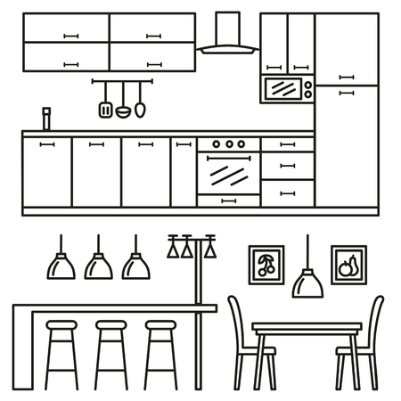 stove top: Kitchen modern furniture icons. Home comfortable interior in line style.