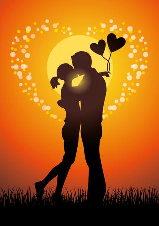 innamorati che si baciano: Silhouette illustrazione di amanti romantici baciare coppia in un campo di erba al tramonto. Vettoriali