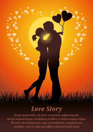 innamorati che si baciano: Silhouette illustration of romantic lovers kissing couple in a field of grass at sunset