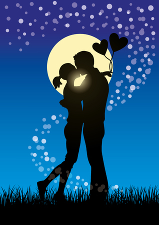 Silhouette illustration of romantic lovers kissing couple in a field of grass at moonlight Ilustração