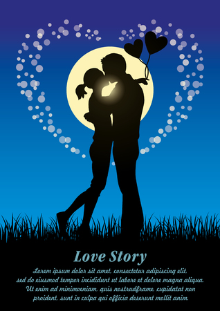 innamorati che si baciano: Silhouette illustration of romantic lovers kissing couple in a field of grass at moonlight Vettoriali