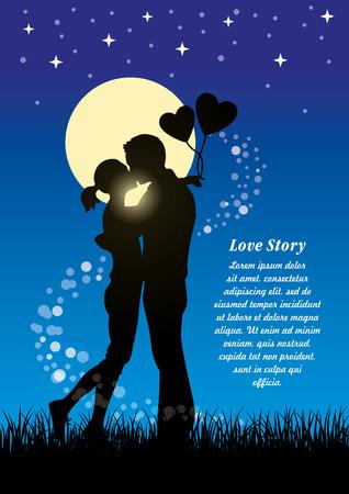 Silhouetillustratie van romantische minnaars die paar op een gebied van gras kussen bij maanlicht