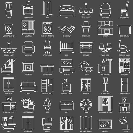 fireside: Room modern interior indoor furniture linear icons set illustration
