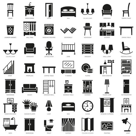 Icônes de silhouette chambre intérieur moderne intérieur meubles mis illustration