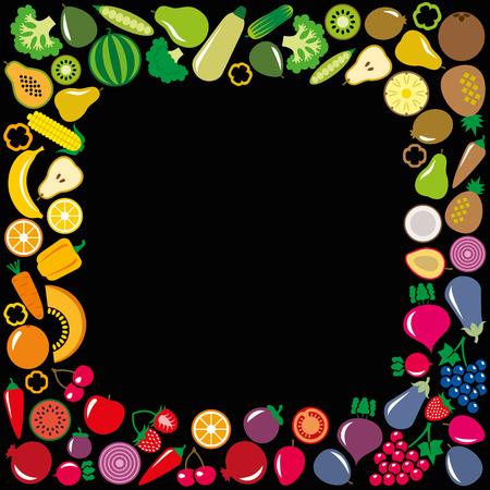 Set of vegetables and fruits icons illustration square frame background on white Illustration