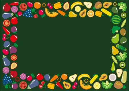 Set of vegetables and fruits icons illustration rectangle frame background on green