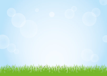 Green grass nature field and sunny blue sky background illustration