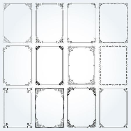 foliate: Decorative frames and borders standard rectangle proportions backgrounds vintage design elements set