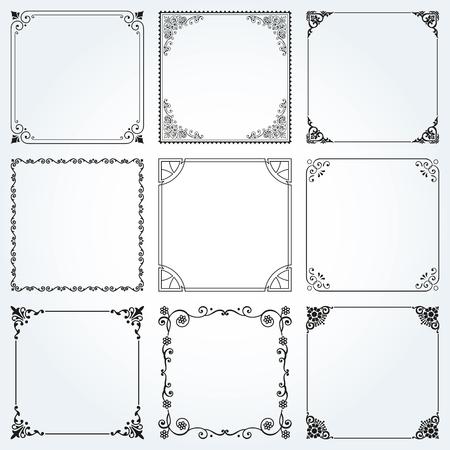 foliate: Decorative frames and borders square backgrounds vintage design elements set 2