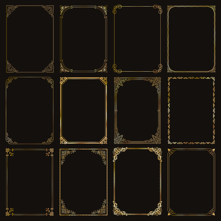 Decorative gold frames and borders standard rectangle proportions backgrounds.