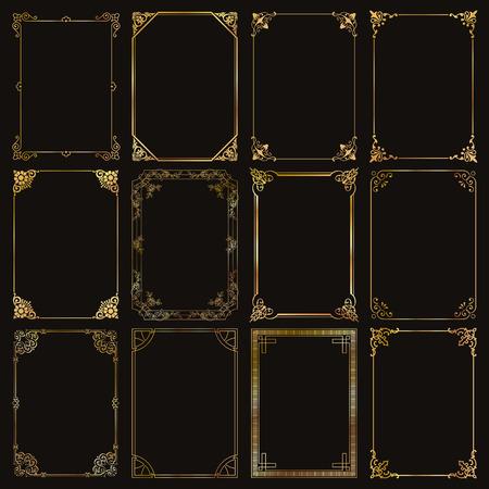 Dekoracyjne złote ramki i granice standardowych proporcji prostokątów tła zestaw elementów projektu