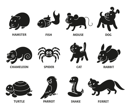 Pet shop, set silhouette types of pets, cartoon illustrations animals in line style. Logo, pictogram, infographic elements. Illustration