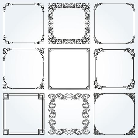 Ozdobne ramki i obramowania kwadratowe tła zestaw elementów projektu vintage.