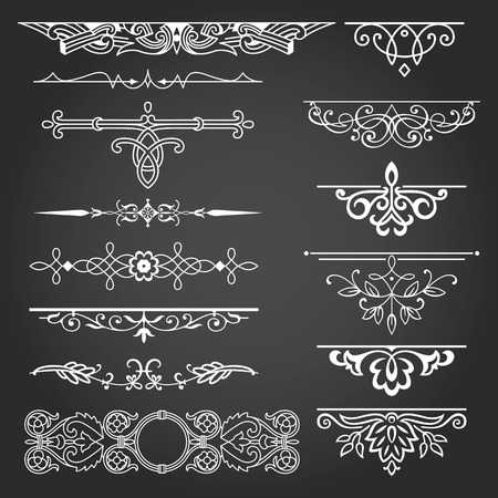 Decorative elements for design invitations, frames, menus
