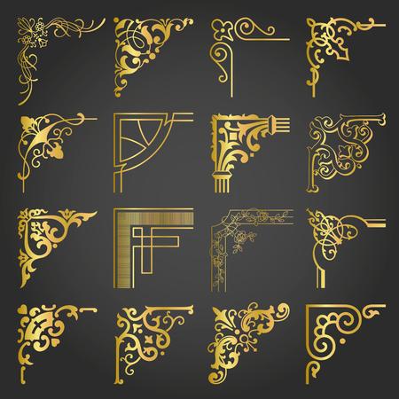 Gold Corners and Borders Decorative Vintage Frames Design Elements Set 2