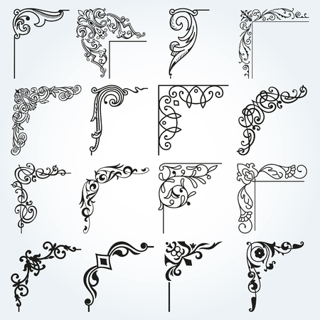 Corners and Borders Vintage Frames Design Elements Set 2 Vector  イラスト・ベクター素材