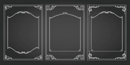 Frames vertical abd borders standard proportions backgrounds vintage design elements set 3