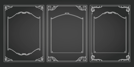 Frames vertical abd borders standard proportions backgrounds vintage design elements set 3