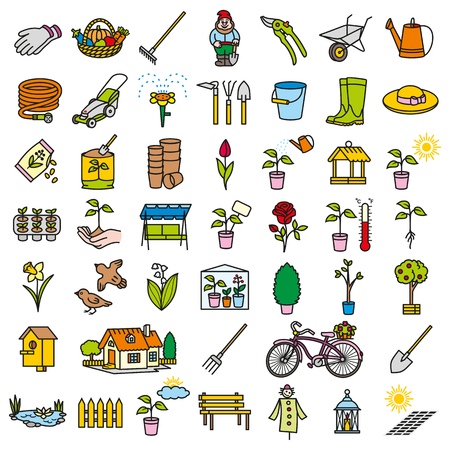 Garden icon tool set simple and thin line design color