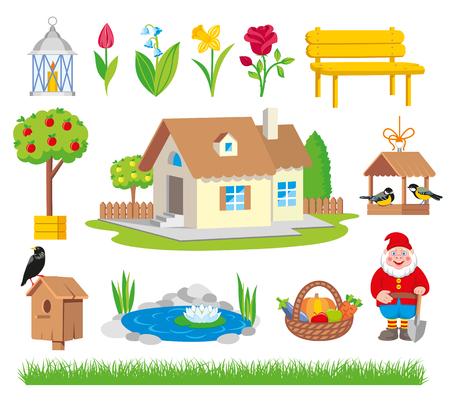 Garden icon tool set cartoon style. Garden collection tools isolated on white background illustration