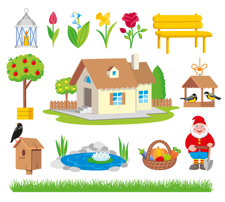 Garden icon tool set cartoon style. Garden collection tools isolated on white background illustration