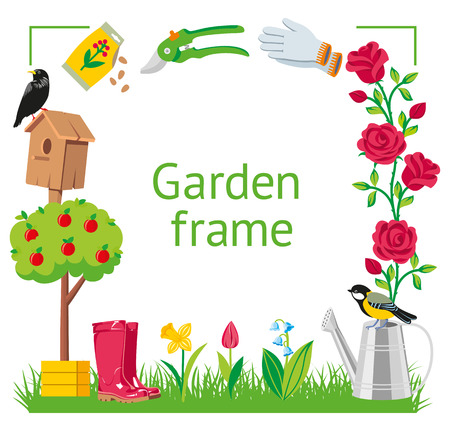 Cornice da giardino in stile cartone animato. Strumenti della raccolta del giardino isolati sull'illustrazione bianca del fondo Vettoriali