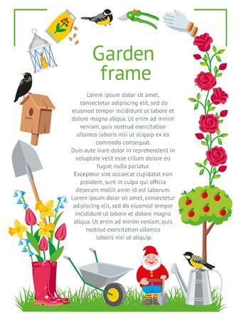 Estilo de dibujos animados de marco de jardín. Herramientas de recolección de jardín aisladas en la ilustración de fondo blanco