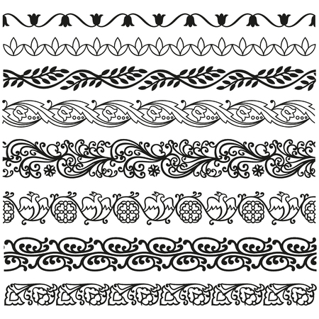 Border, lines ornamental vintage set. Decorative elements for design invitations, frames, menus