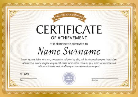 Modèle de certificat, bon cadeau, diplôme, bordure vintage