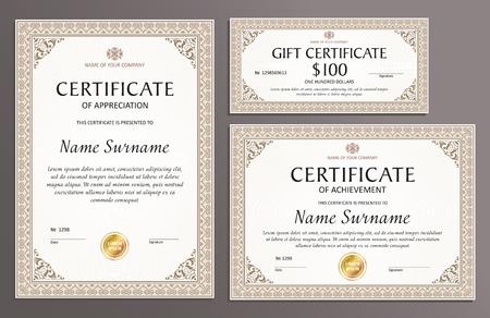 Certificate template set, horizontal, vertical, gift voucher, diploma, vintage border