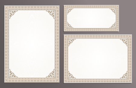 Certificate template frame set, horizontal, vertical, gift voucher, diploma for yuor business in vintage style