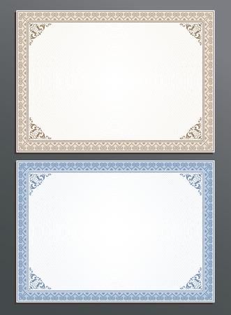 Certificate template, gift voucher, coupon frame border in vintage style for your business Ilustração