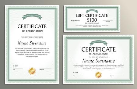 Plantilla de certificado, vale de regalo en estilo vintage para su negocio