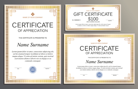 Certificate template, gift voucher in vintage style for your business