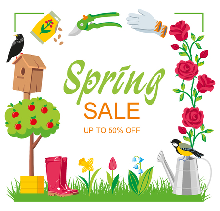 Sale spring garden frame cartoon style. Garden collection tools isolated on white background illustration