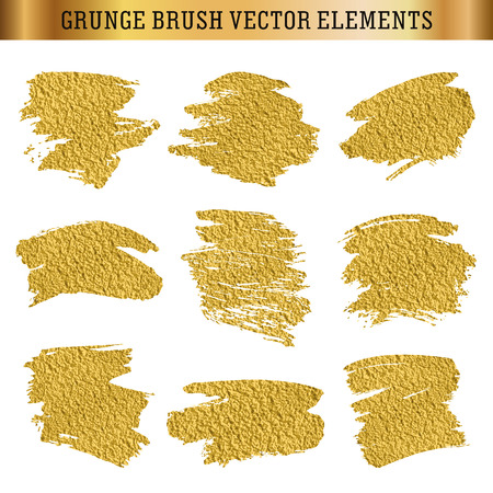 Gold set of hand drawn grunge brush texture elements, vector backgrounds for text