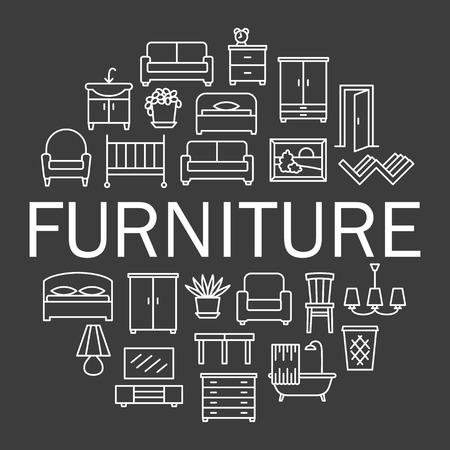 Furniture linear icons sale banner. Room modern interior indoor set illustration in circle Ilustração