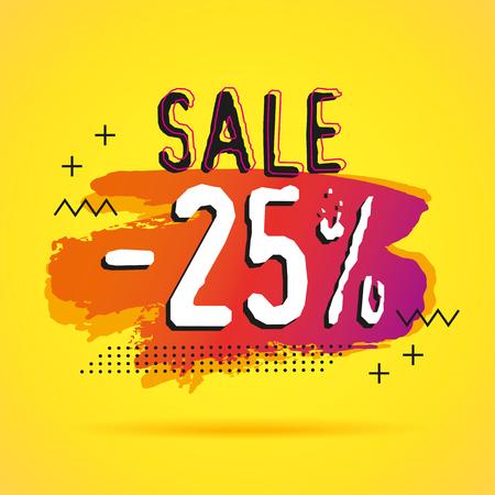 Sale 25% banner modern geometric template for special offer illustration