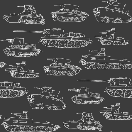 Military transport pattern with a different tanks model. Hand draw seamless army texture with vehicle sketch