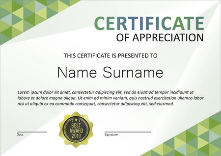 Certificate modern template, gift voucher, diploma, vintage border Ilustração