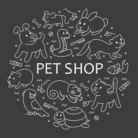 Pet shop, types of pets in circle template, cartoon illustrations animals in line style. Logo, pictogram, infographic elements Banco de Imagens - 129784959