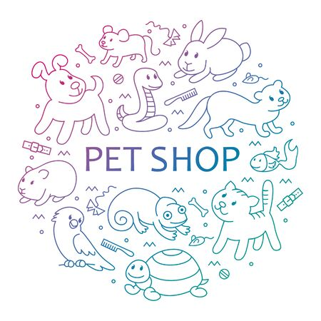 Pet shop, types of pets in circle template, cartoon illustrations animals in line style. Logo, pictogram, infographic elements