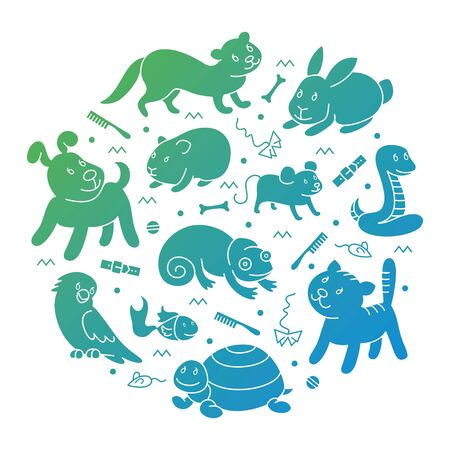 Pet shop silhouette, types of pets in circle tamplete, cartoon illustrations animals in line style. Logo, pictogram, infographic elements