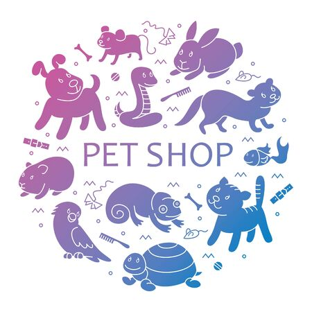 Pet shop silhouette, types of pets in circle tamplete, cartoon illustrations animals in line style. Logo, pictogram, infographic elements Banco de Imagens - 129784973