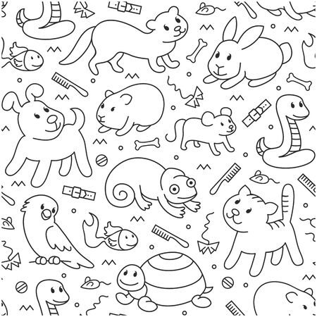 Pet shop,doodle pattern background of pets, cartoon illustrations animals in line style. Logo, pictogram, infographic elements
