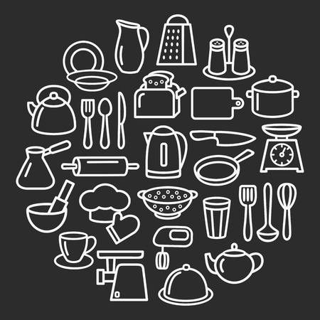 Cooking set in circle template of modern thin line icons home tableware, household and kitchen utensils for banner