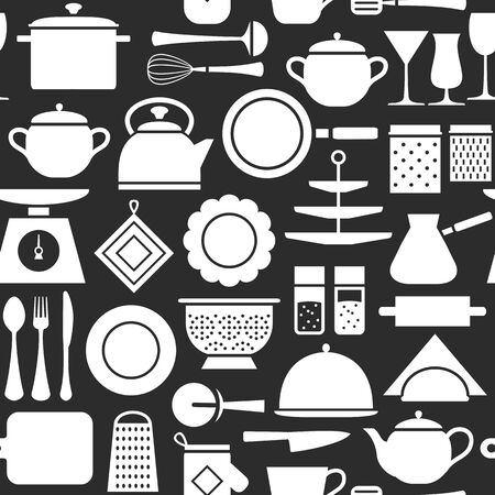 Kitchen tools modern pattern, cooking set background silhouette icons home tableware, household and kitchen utensils for banner