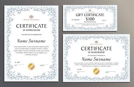 Certificate template set floral, horizontal, vertical, gift voucher, diploma, vintage border Çizim