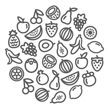 Set of fruits icons illustration background in a circular shape 일러스트